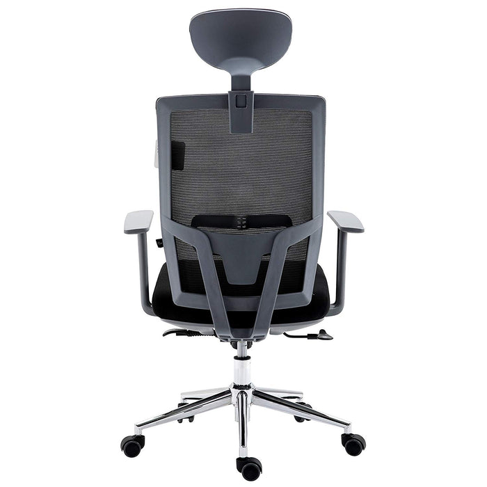 Premium Black Mesh  High Back Chrome Base Ergonomic Office Chair Swivel Desk Chair with Adjustable Headrest, Synchro-Tilt & Lumbar Support