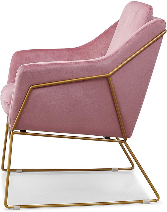 HEDY Velvet Accent Chair Armchair with Sculptural Metal Frame in Pink Velvet 5
