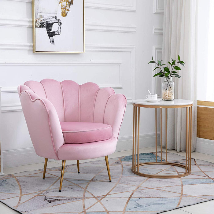 HEPBURN Scalloped Velvet Armchair Tub Chair Pink