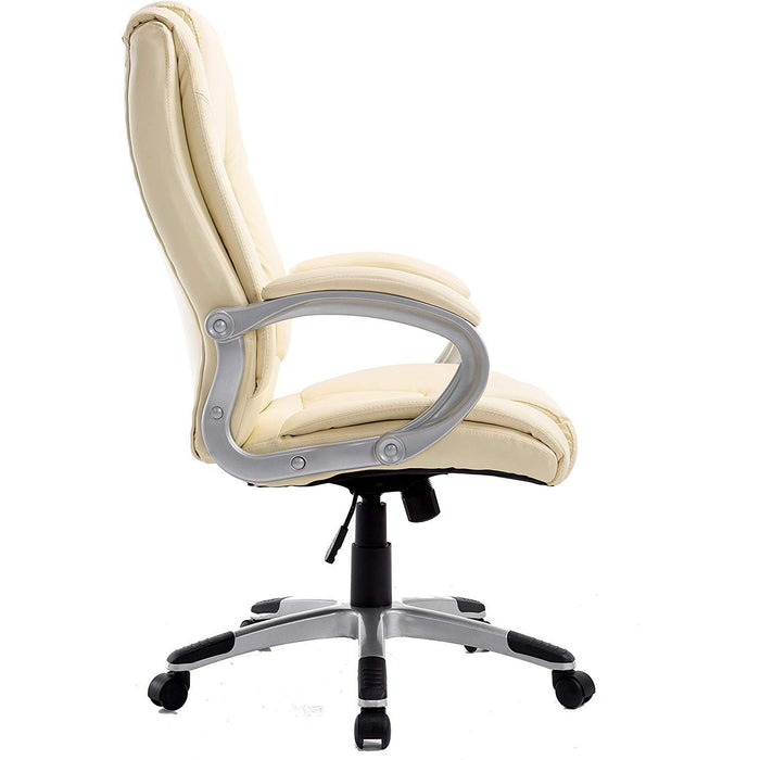 Cherry Tree Furniture High Back PU Leather Executive Swivel Office Chair MO59 Cream