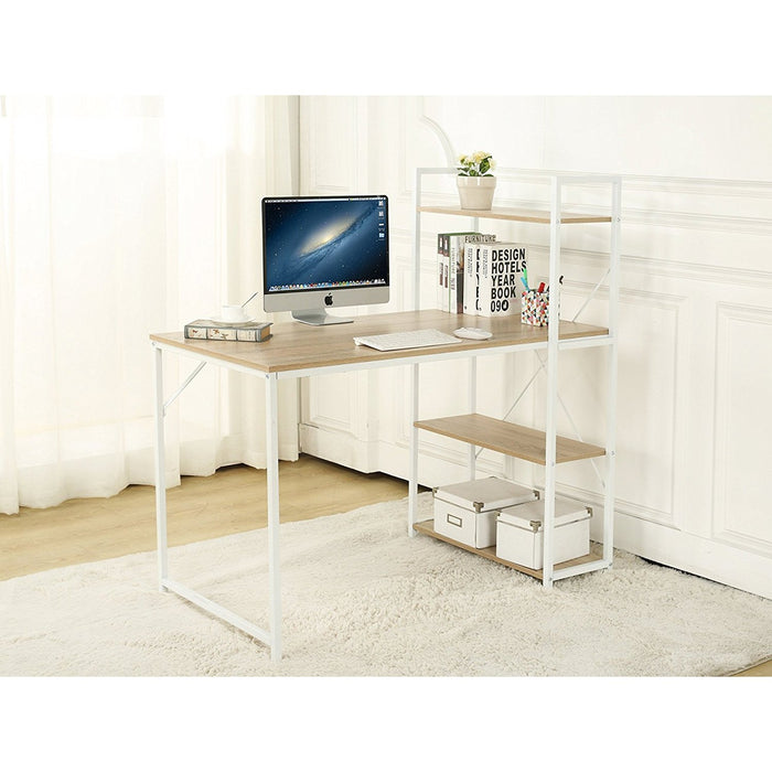 4 tier shelves computer workstation desk natural