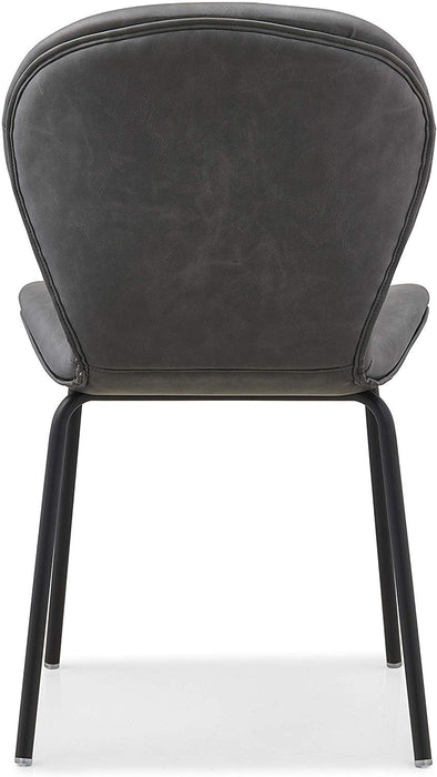 Set of 2 Fernie Vintage Grey Colour PU Dining Chairs with Black Metal Legs 7