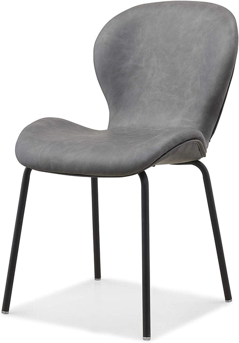 Set of 2 Fernie Vintage Grey Colour PU Dining Chairs with Black Metal Legs 4