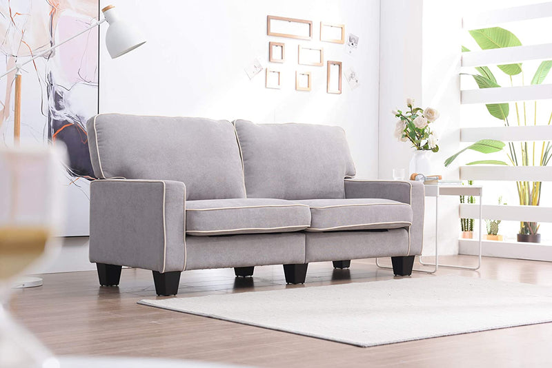 Sherbrook Large 2 Seater Fabric Sofa with Contrasting Trim in Light Grey Fabric 3