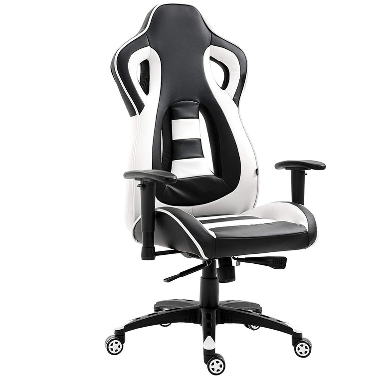 CTF Racing Style High Back Swivel Gaming Chair Computer Desk Chair with Back Vents Design, White