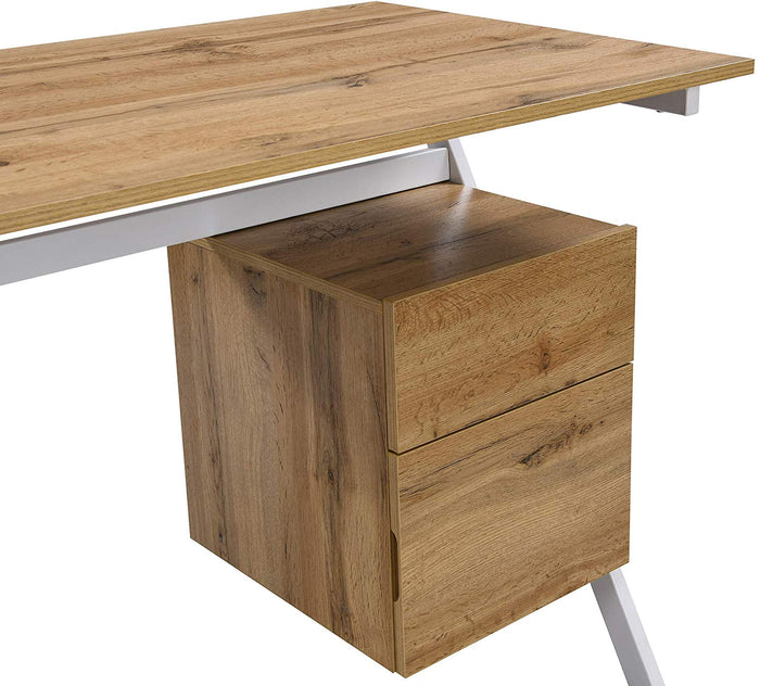SION Desk with Drawer & Cupboard Oak 7