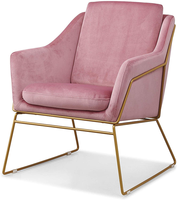 HEDY Velvet Accent Chair Armchair with Sculptural Metal Frame in Pink Velvet 4