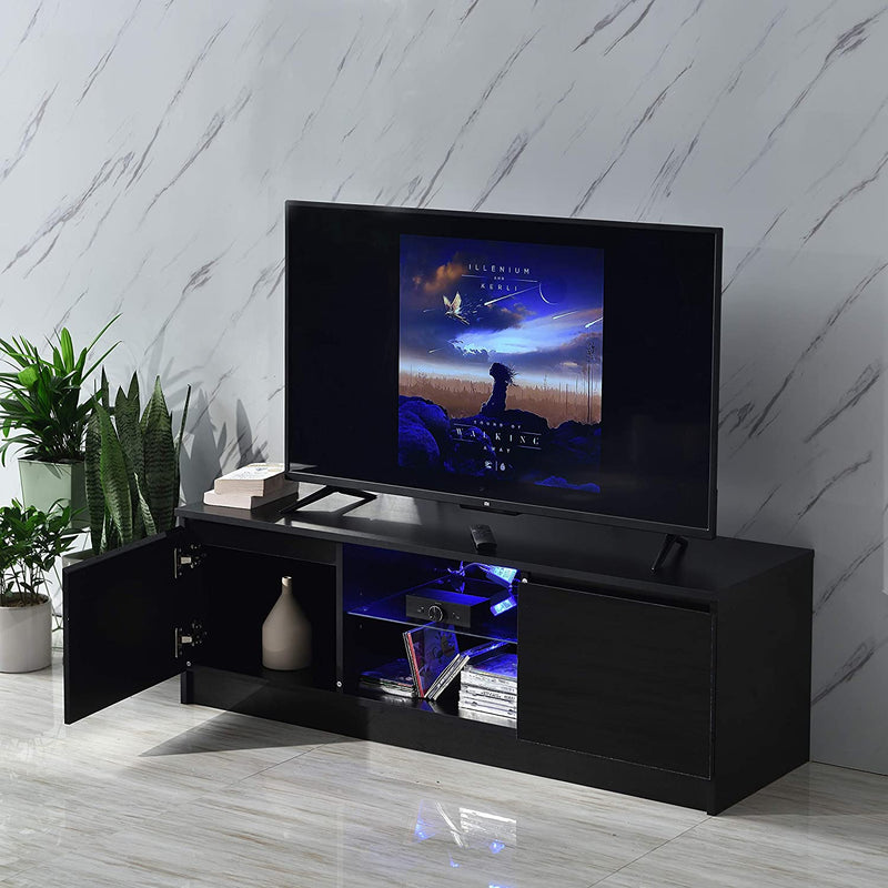 "Cherry Tree Furniture MELDAL LED High Gloss TV Stand, TV Unit Cabinet for TV Size up to 50"" Black, 120 cm"