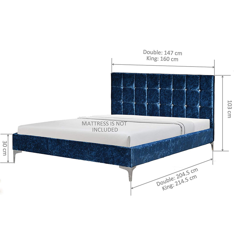 sapphire deep blue crushed velvet bed with tufted headboard
