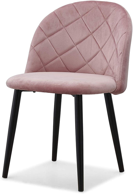 Set of 2 Edmonton Velvet Dining Chairs with Quilted Backrest in Pink 3
