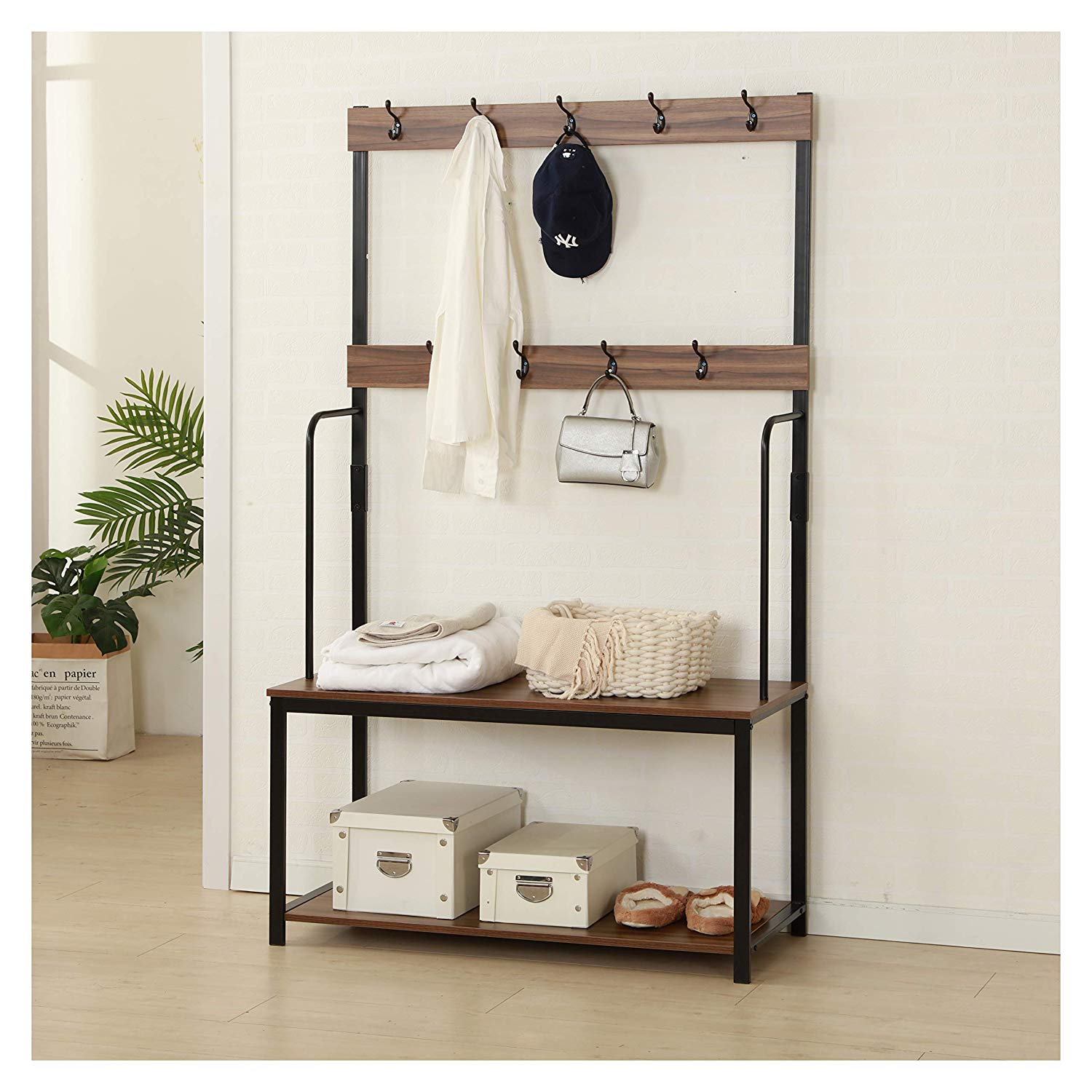 clive walnut colour black steel frame coat stand with 2 shelves