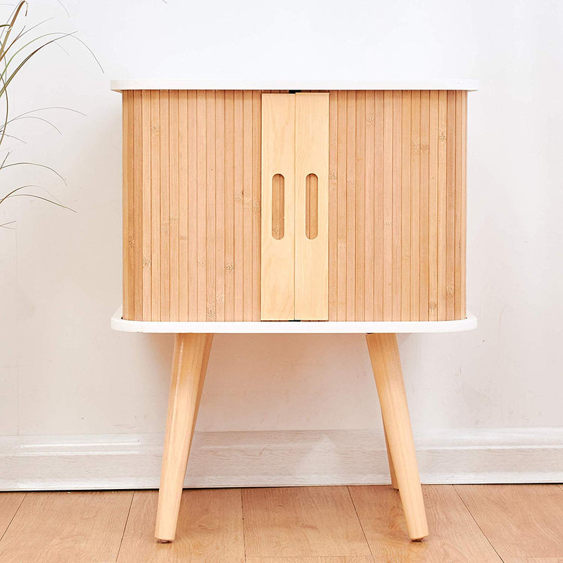 Cherry Tree Furniture TAKE Bedside Table with Slatted Bamboo Vertical Sliding Doors