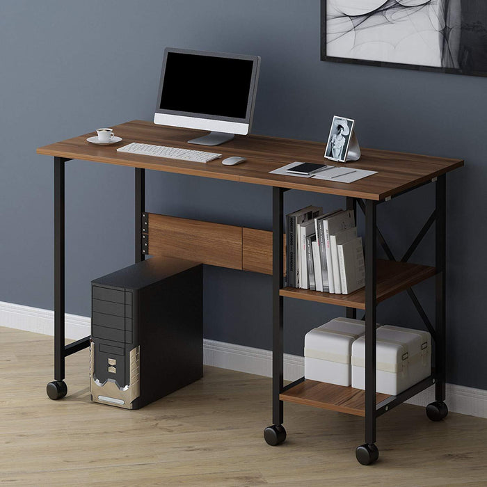 2 in 1 extending computer desk workstation table with storage shelf rolling castors walnut