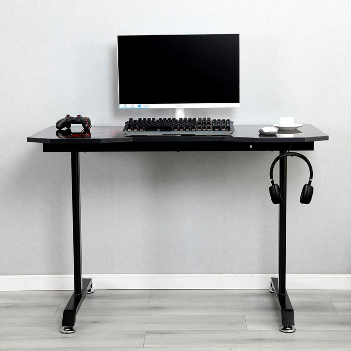 ctf black red gaming table computer desk with cable port headphone hanger