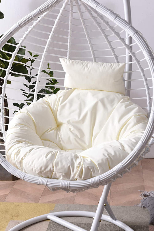 Breeze White Rattan Effect Hanging Egg Chair 7