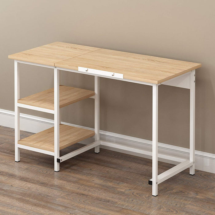 computer desk drafting table with shelves natural