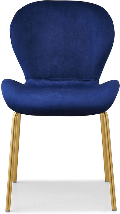 Set of 2 Fernie Blue Velvet Dining Chairs with Golden Metal Legs 3