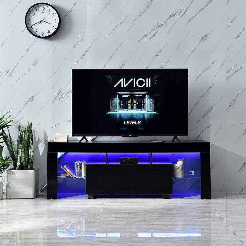 "Cherry Tree Furniture MELDAL LED High Gloss TV Stand, TV Unit Cabinet for TV Size up to 51"" Black, 130 cm"