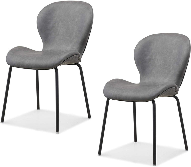 Set of 2 Fernie Vintage Grey Colour PU Dining Chairs with Black Metal Legs