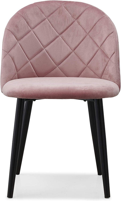 Set of 2 Edmonton Velvet Dining Chairs with Quilted Backrest in Pink 2