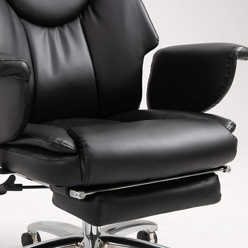 Abraham Wingback Style Office Chair with Footrest in Black PU Leather 8