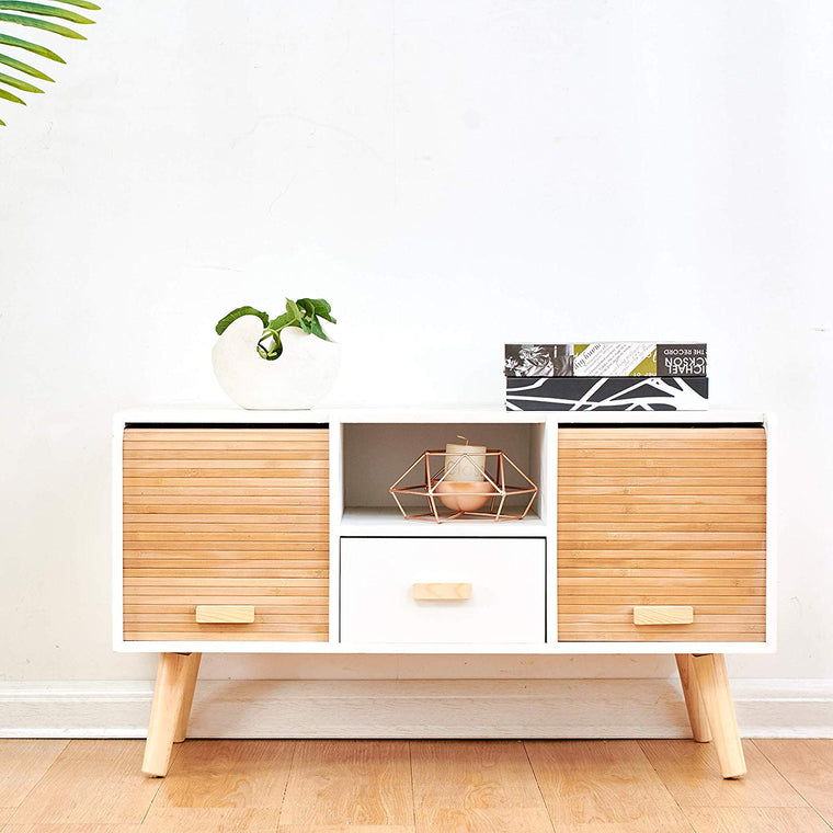 Cherry Tree Furniture TAKE 2-Door Cabinet/TV Stand Sideboard with Slatted Bamboo Sliding Doors