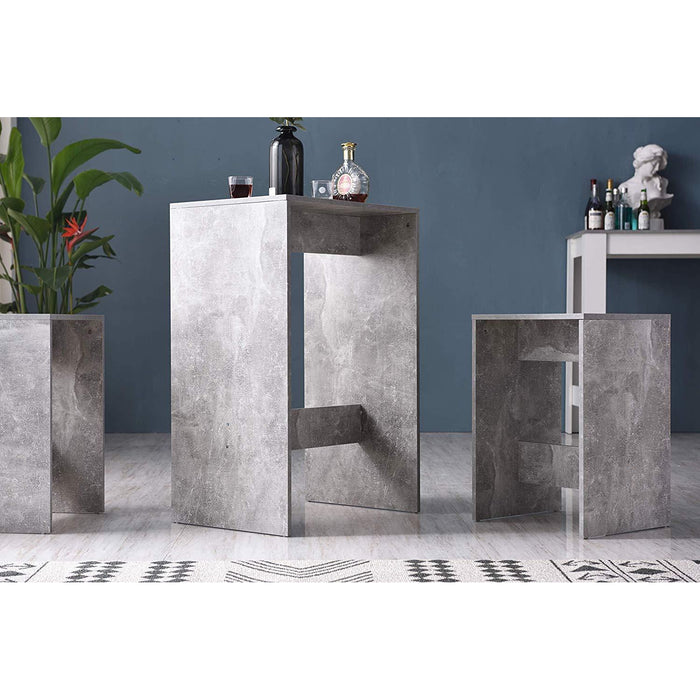 Cherry Tree Furniture NARVIK Grey Concrete Effect High Table & Stools Set, Bar Table Set