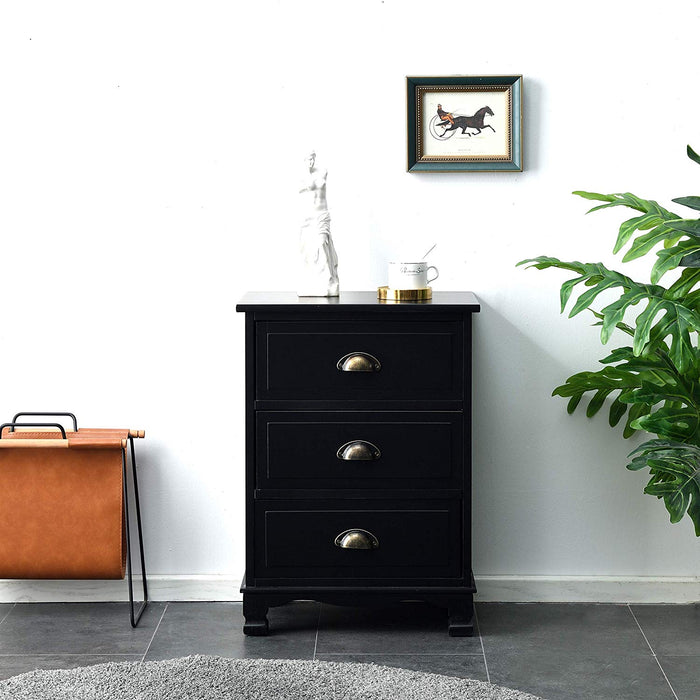 CAMROSE Wooden Chest of Drawers/Bedside Table with Metal Cup Pull Handles Black 3 Drawer 2