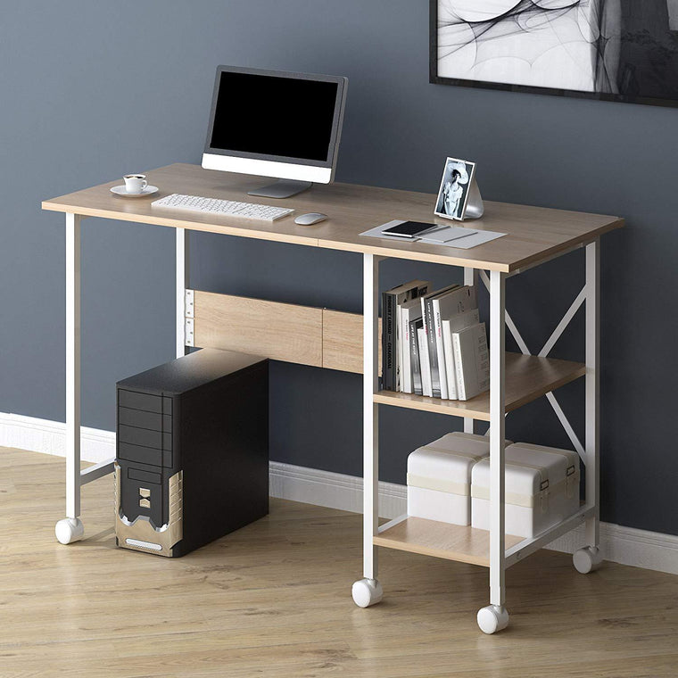 2-IN-1 Extending Computer Desk Workstation Table with Storage Shelf & Rolling Castors, Natural