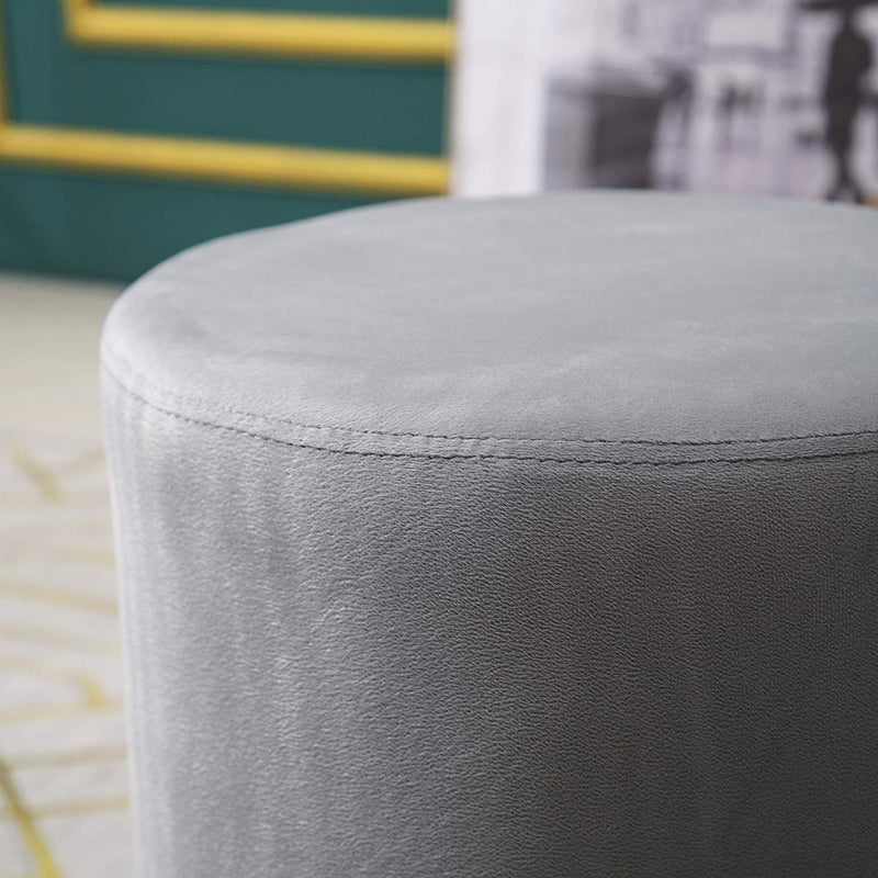 MIA Plush Velvet Stool Pouffe with Golden Accents Grey 3