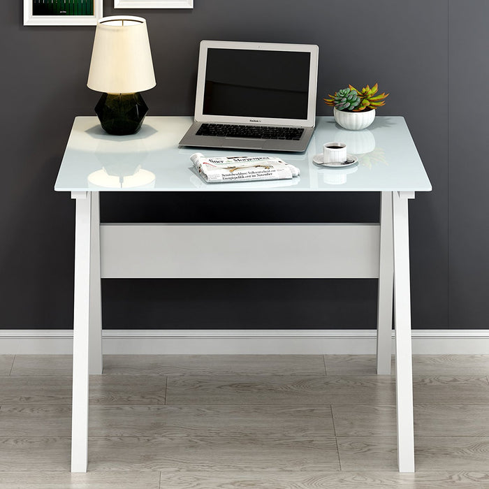 tempered glass top computer desk white
