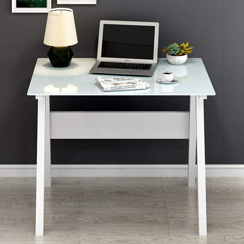 Tempered Glass Top Computer Desk 100 x 70 x 75 cm, White