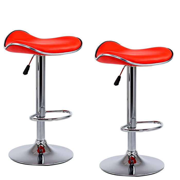 Faux Leather Chrome Base Swivel Bar Stool with Silver Trim MB-202RED in Pair, Red