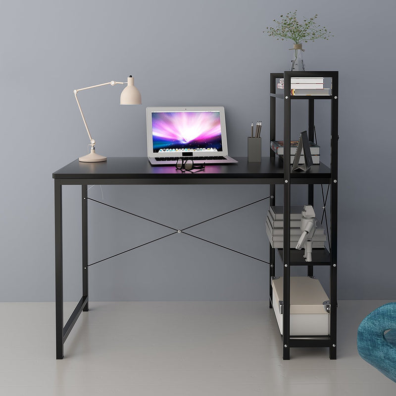4 tier shelves computer workstation desk black