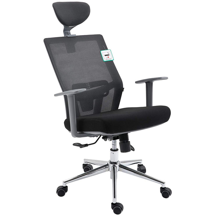 Premium Dark Grey Mesh  High Back Chrome Base Ergonomic Office Chair Swivel Desk Chair with Adjustable Headrest, Synchro-Tilt & Lumbar Support