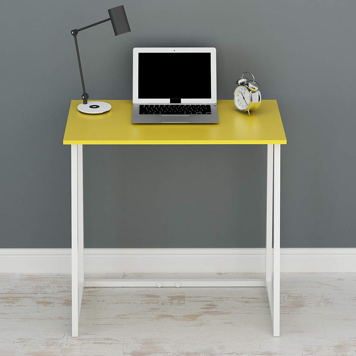 Compact Flip-Flop Folding Computer Desk Home Office Laptop Desktop Table, Yellow