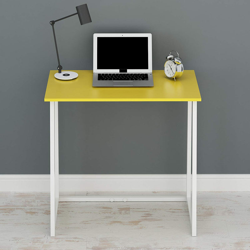 compact flip flop folding computer desk home office laptop desktop table yellow