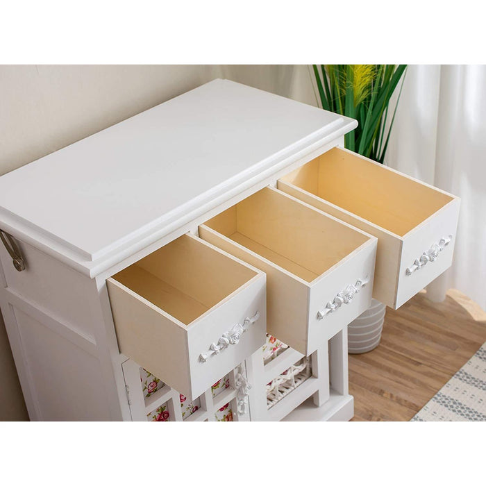 3-Drawer Shabby Chic Dressing Table Set with Folding Mirror & Floral Stool