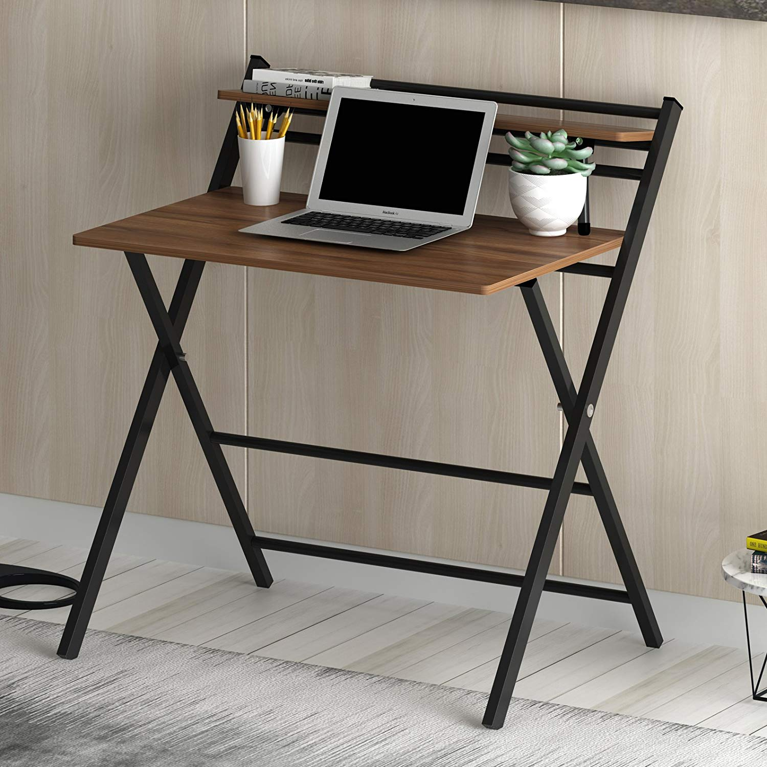 new design folding desk with steel frame walnut