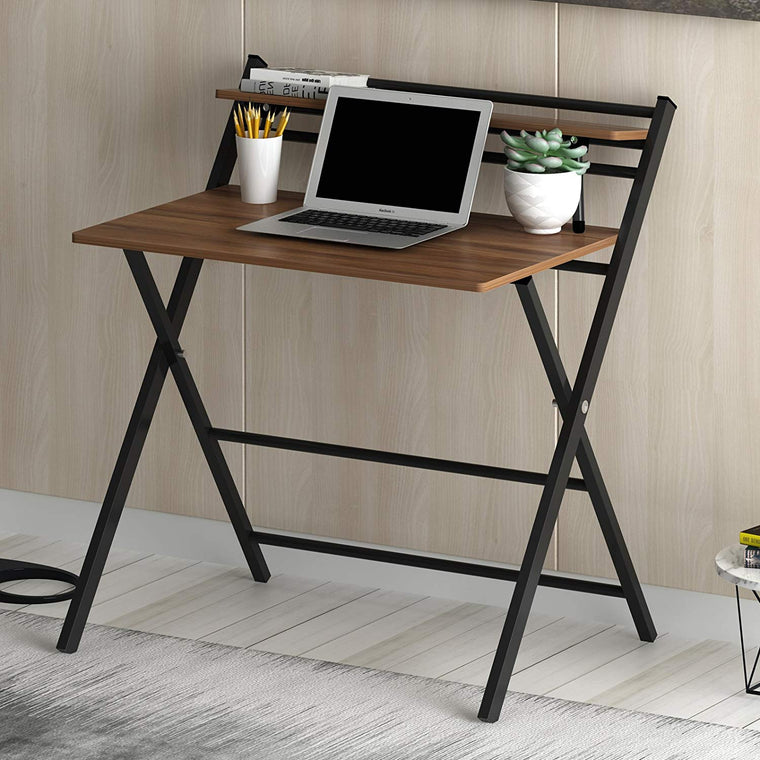New Design Folding Desk with Steel Frame, Walnut