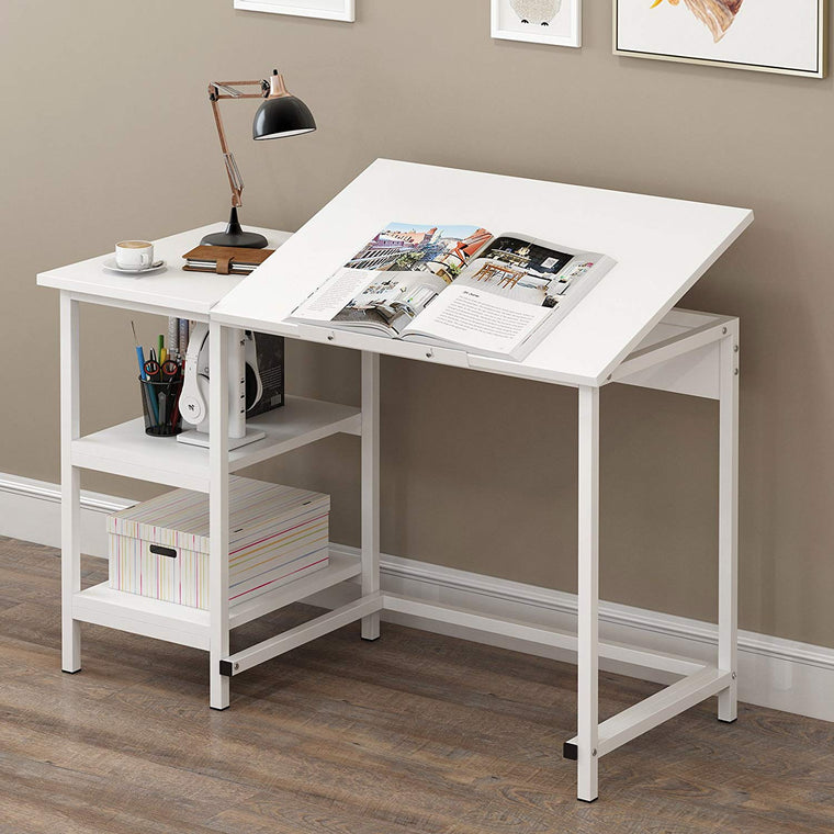 Computer Desk / Drafting Table with Shelves, White