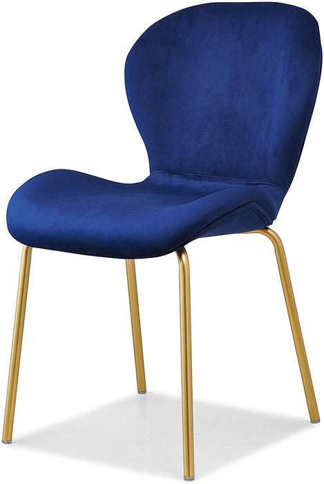 Set of 2 Fernie Blue Velvet Dining Chairs with Golden Metal Legs 4