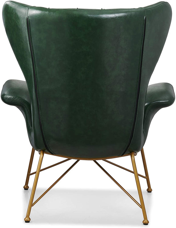 Oliver Vintage Effect Wingback Green PU Leather Armchair Accent Chair 6