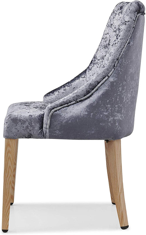 Burnaby Set of 2 Crushed Velvet Dining Chairs with Buttoned Back in Grey 4