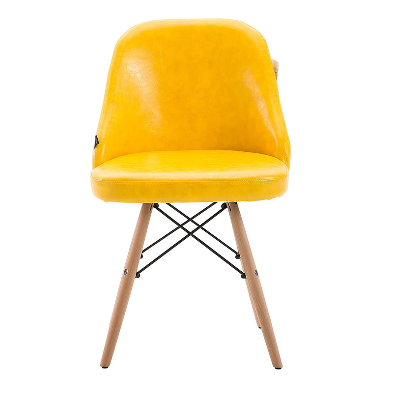 CTF Retro Modern PU Leather Padded Dining Chair Pair with Solid Legs, Yellow