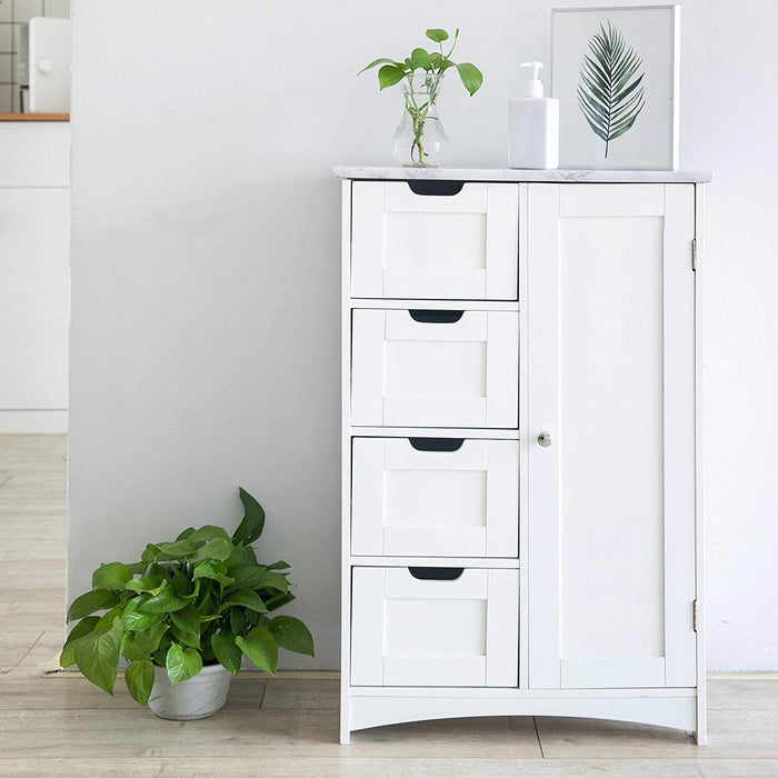 Free Standing Wooden Bathroom Cabinet with 1-Door Cupboard and 4-Drawer & Marble Effect Top (White)