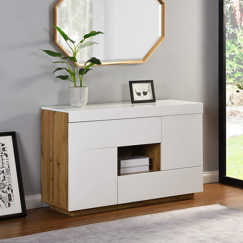 Yukon High Gloss White 2 in 1 Desk or Sideboard with Extendable Top 2