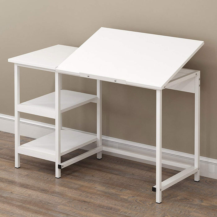 computer desk drafting table with shelves white