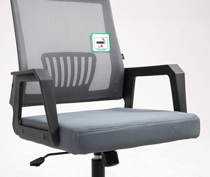 Beni Mesh Fabric Swivel Office Chair with Headrest Grey 7