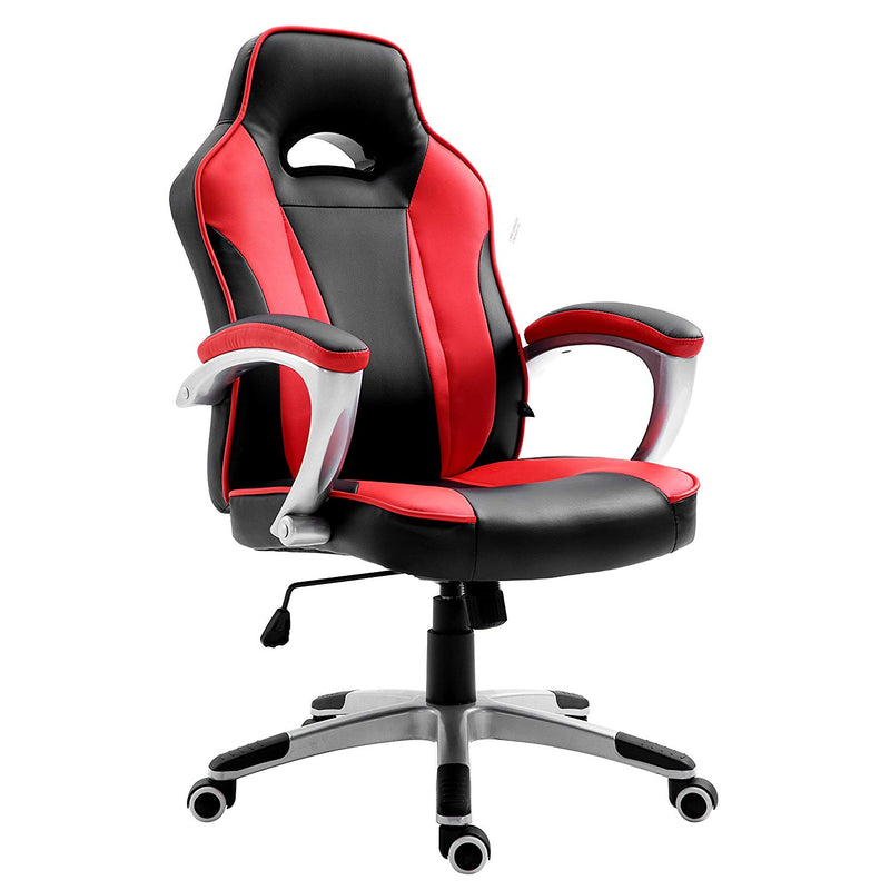 High Back Racing Sport Gaming Style Computer Office Desk PU Leather Swivel Chair in Contrasting Colours, Black & Red